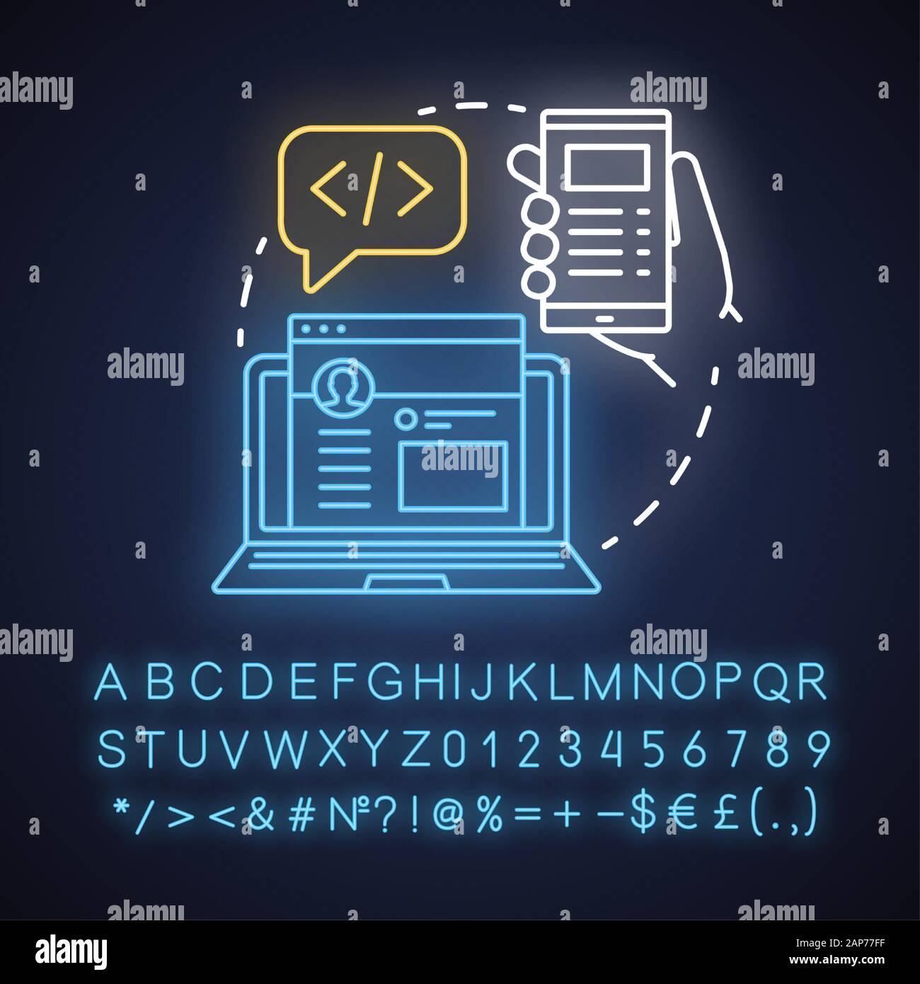 Front End Neon Light Concept Icon Software Development Kit Idea Programming And Coding Responsive Website Design Glowing Sign With Alphabet Numbe Stock Vector Image Art Alamy