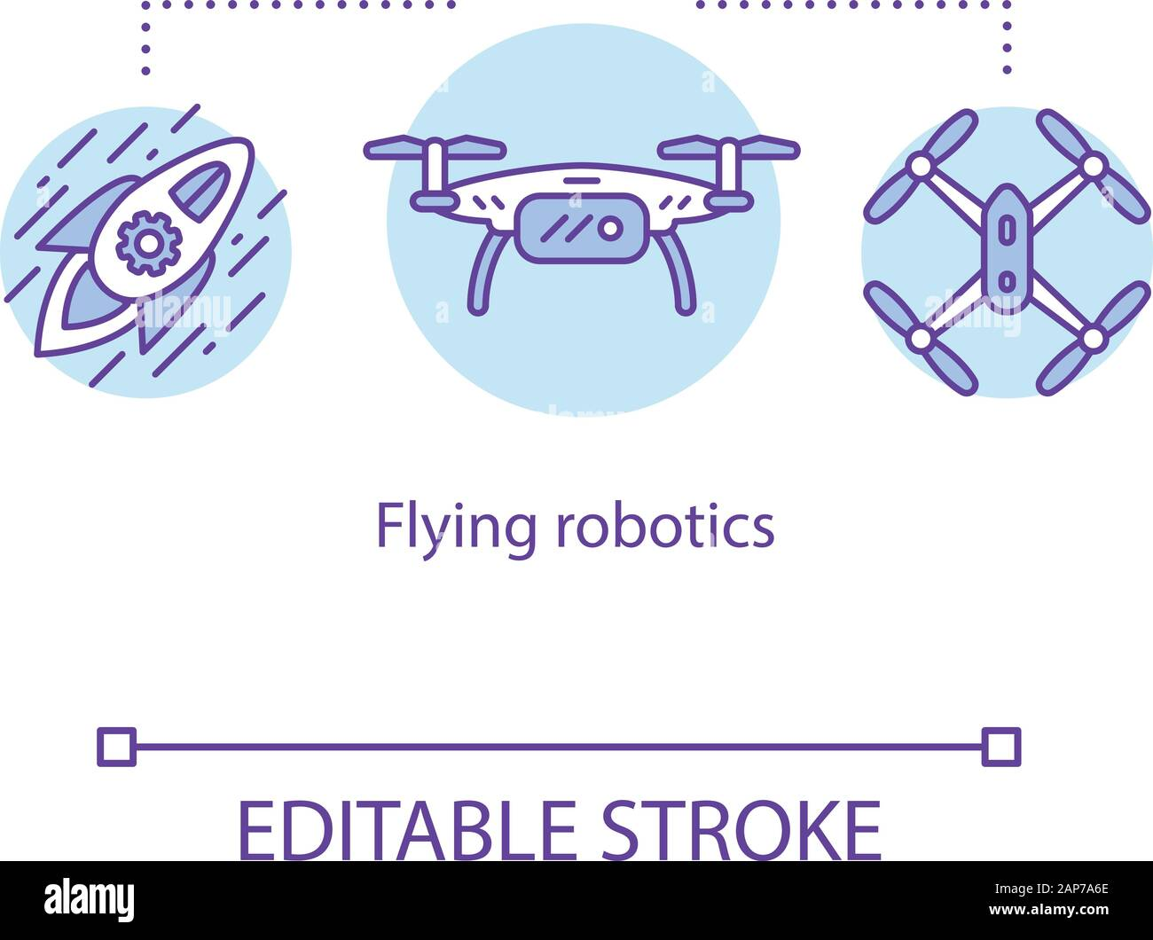 Flying Robots Concept Icon Unmanned Aerial Vehicles Uav Pilotless Aircraft Delivery Drones Rocket Copter Idea Thin Line Illustration Vector Iso Stock Vector Image Art Alamy