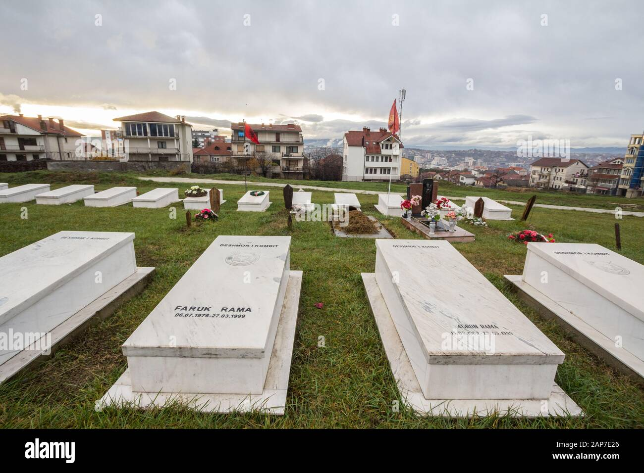 PRISTINA, KOSOVO - NOVEMBER 12, 2016: Graves of Kosovo Liberation Army (KLA, also known as UCK) fighters killed in the Kosovo conflict in 1999 in the Stock Photo