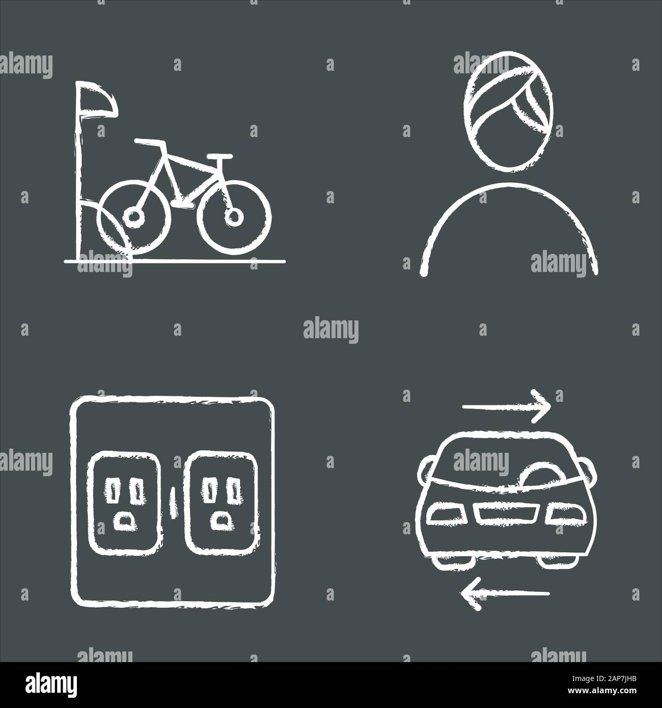 Apartment amenities chalk icons set. Bike parking, spa, shared car service, charging outlets. Residential services. Luxuries for dwelling inhabitants. Stock Vector