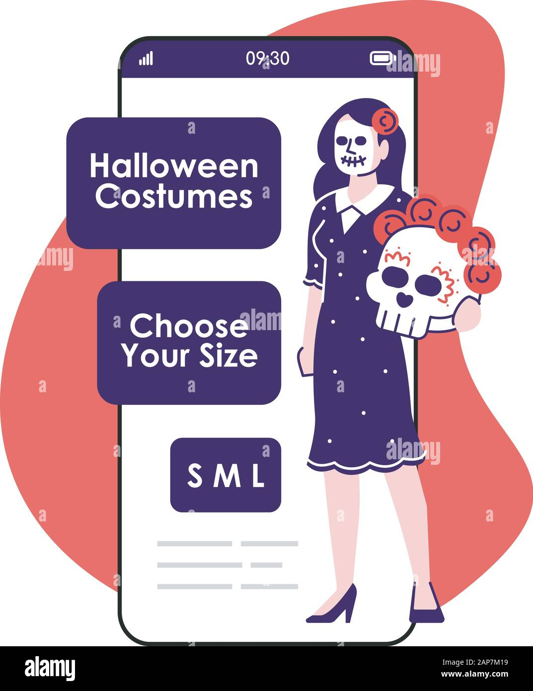 Halloween Costumes Smartphone App Screen Mobile Phone Displays With Cartoon Characters Design Mockup Skeleton Suit Clothing For Rent Online Store Stock Vector Art Illustration Vector Image 340688805 Alamy