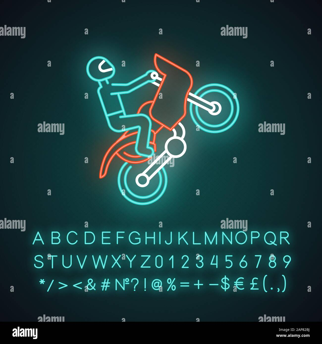 Motorcycling Neon Light Icon Track Road Rally Speedway Motocross Racing Person Performing Motorbiking Stunt Glowing Sign With Alphabet Numbers Stock Vector Image Art Alamy