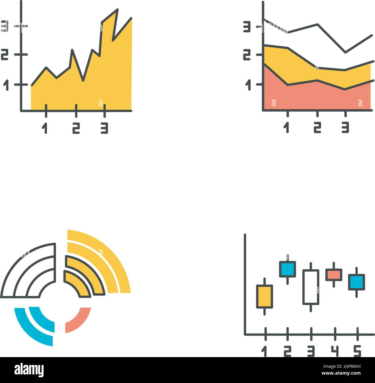 Chart And Graph Color Icons Set Radial Diagram With Increasing Values Area Charts With Segments And Sections Vertical Scatter Histogram Business R Stock Vector Image Art Alamy