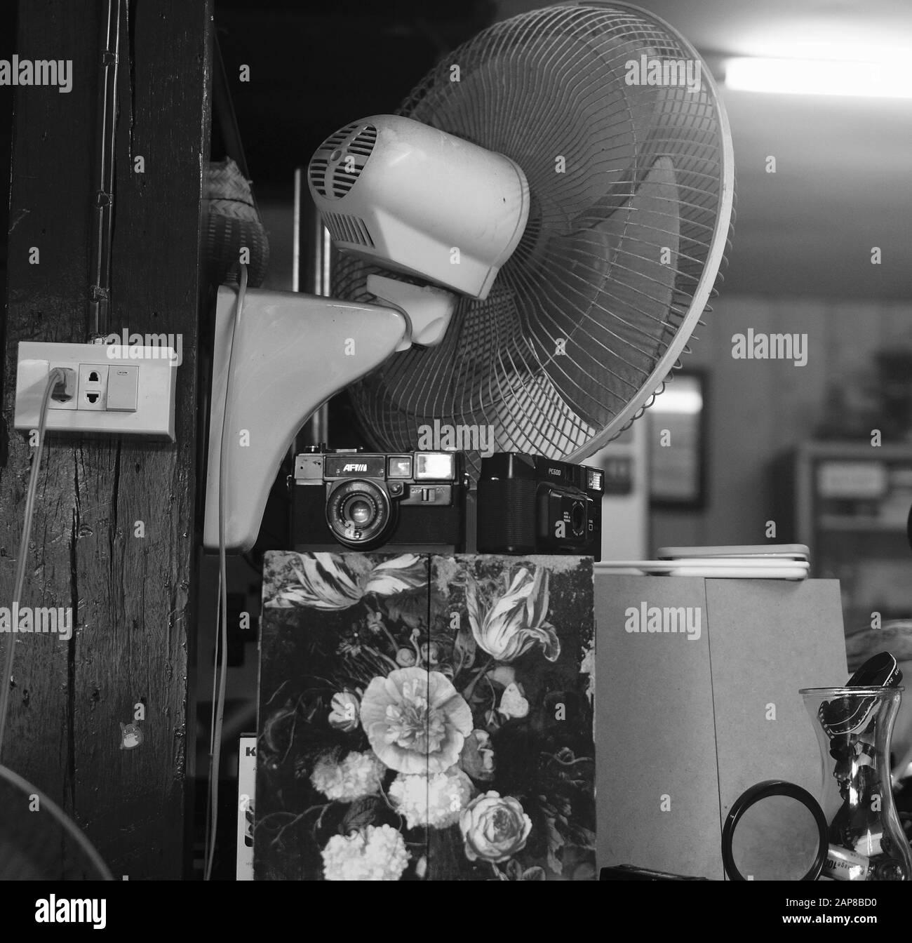 Vintage Cameras on Display Stock Photo