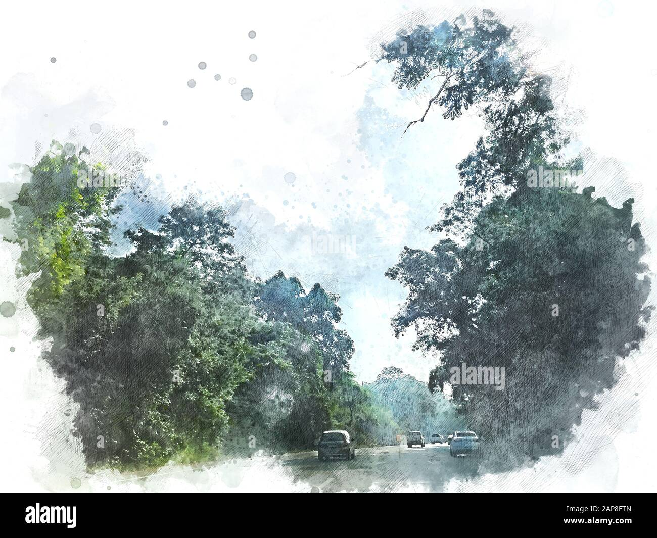 Abstract Colorful Tree Landscape And Road In Forest On Watercolor Painting Background Stock Photo Alamy