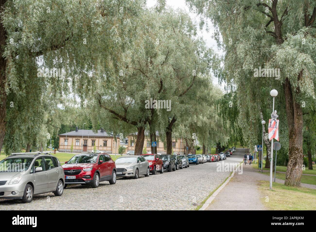 Cobblestone street from the medieval Hame Caste in Hämeenlina Finland Stock Photo