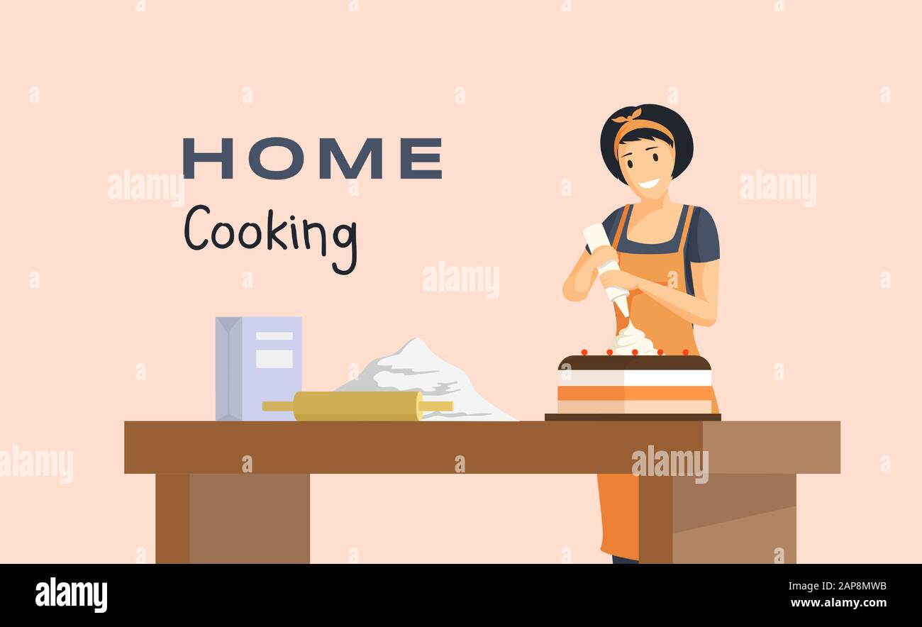 Home Cooking Flat Banner Vector Template Professional Baking Courses Pastry Shop Bakery Advertising Poster Concept Young Baker Housewife Making Delicious Cake Illustration With Typography Stock Vector Image Art Alamy