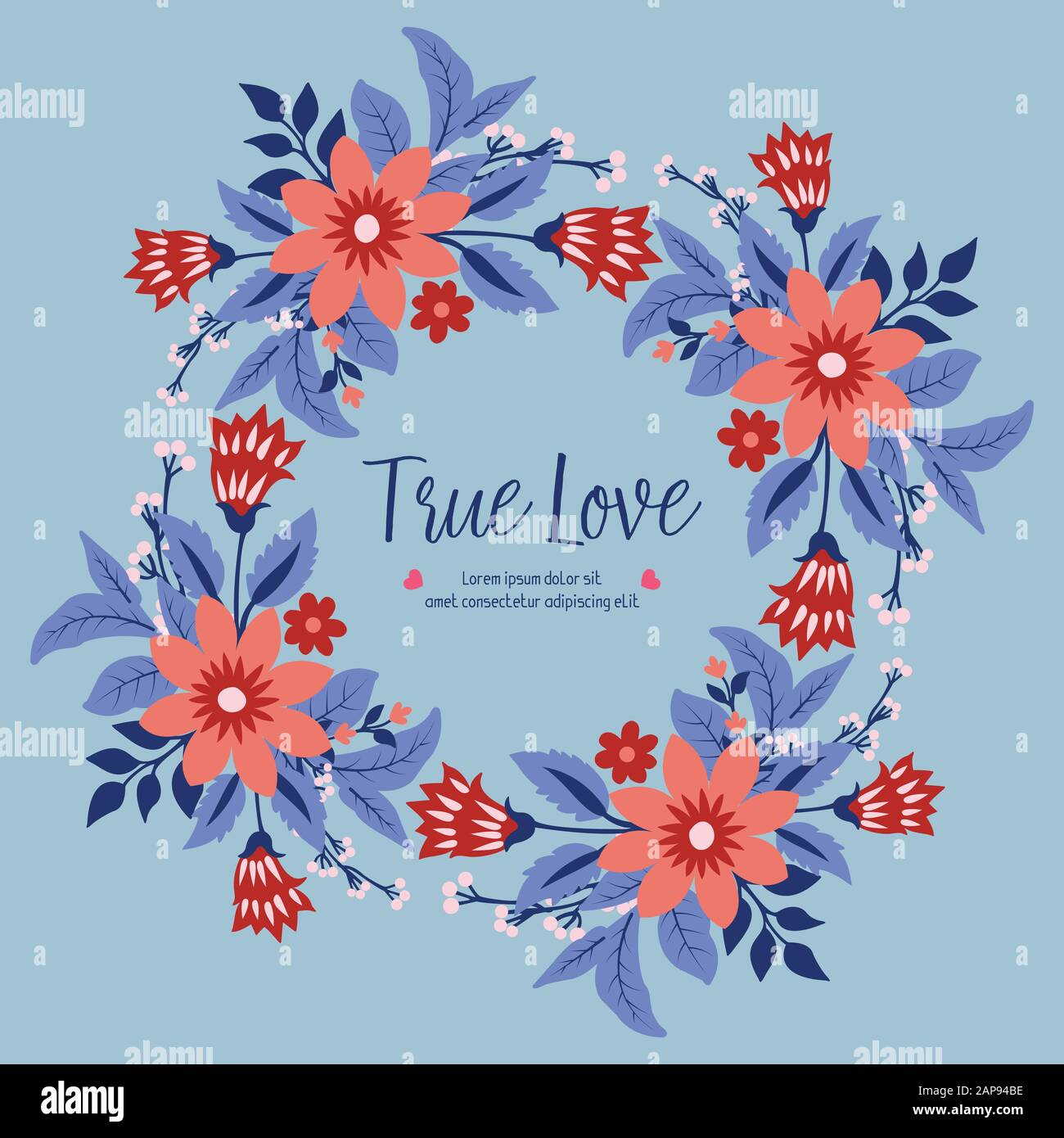 Modern Shape Of Leaf And Red Floral Frame For True Love Greeting