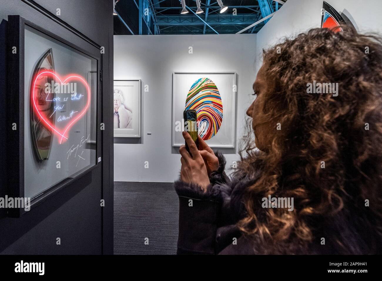 Islington, London, UK. 21st Jan, 2020. Love is what you Want, print by Tracey Emin - the Drang Gallery - The London Art Fair, at the Business Design Centre in Islington. Includes international galleries selling modern and contemporary artworks. Credit: Guy Bell/Alamy Live News Stock Photo