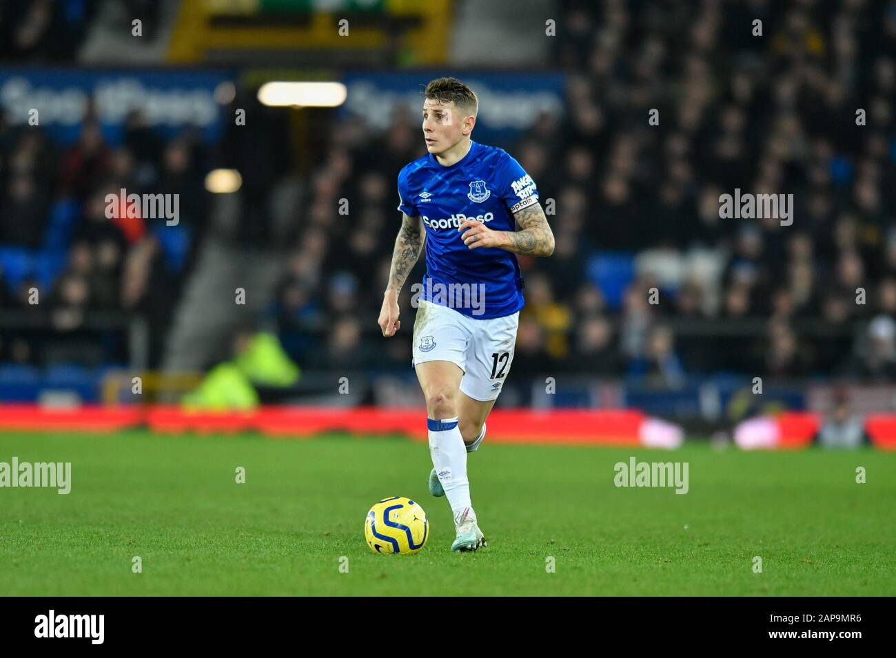 21st January 2020 Goodison Park Liverpool England Premier League Everton V Newcastle United Lucas Digne 12 Of Everton Runs Forward With The Ball Stock Photo Alamy
