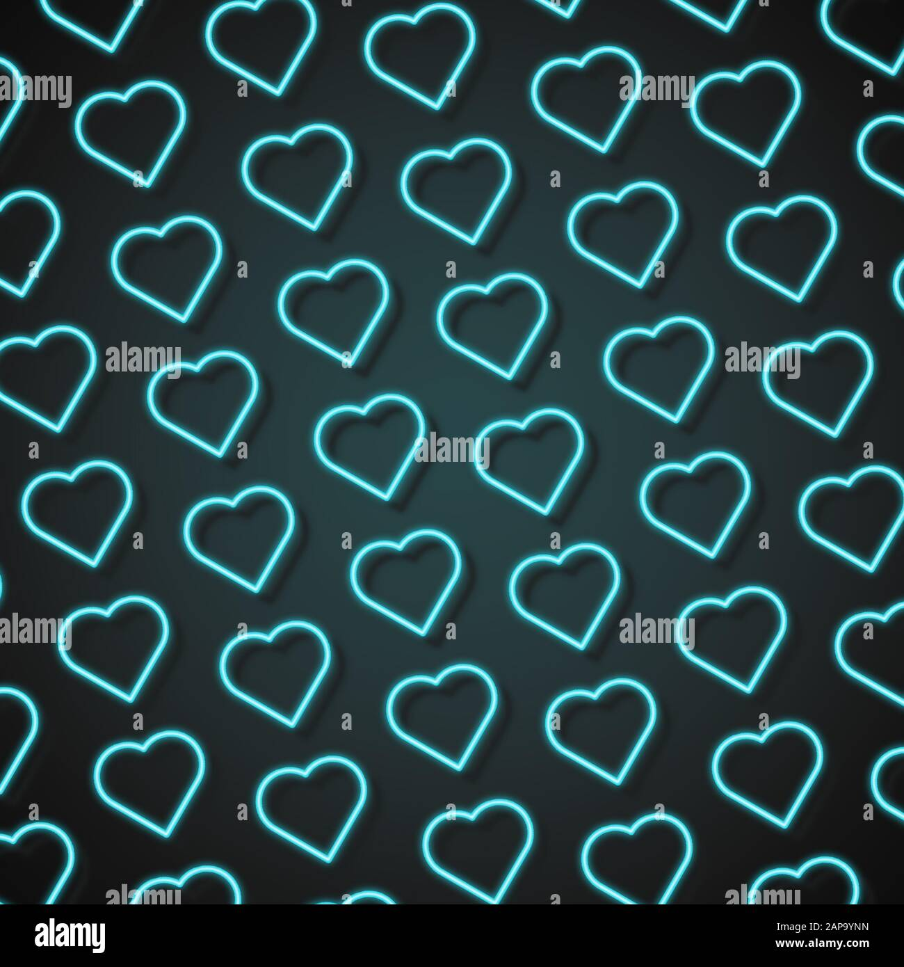 card for saint valentines day neon colored blue hearts on dark modern artwork bright wallpaper background pattern for your device design or advertisement romantic love concept 2AP9YNN