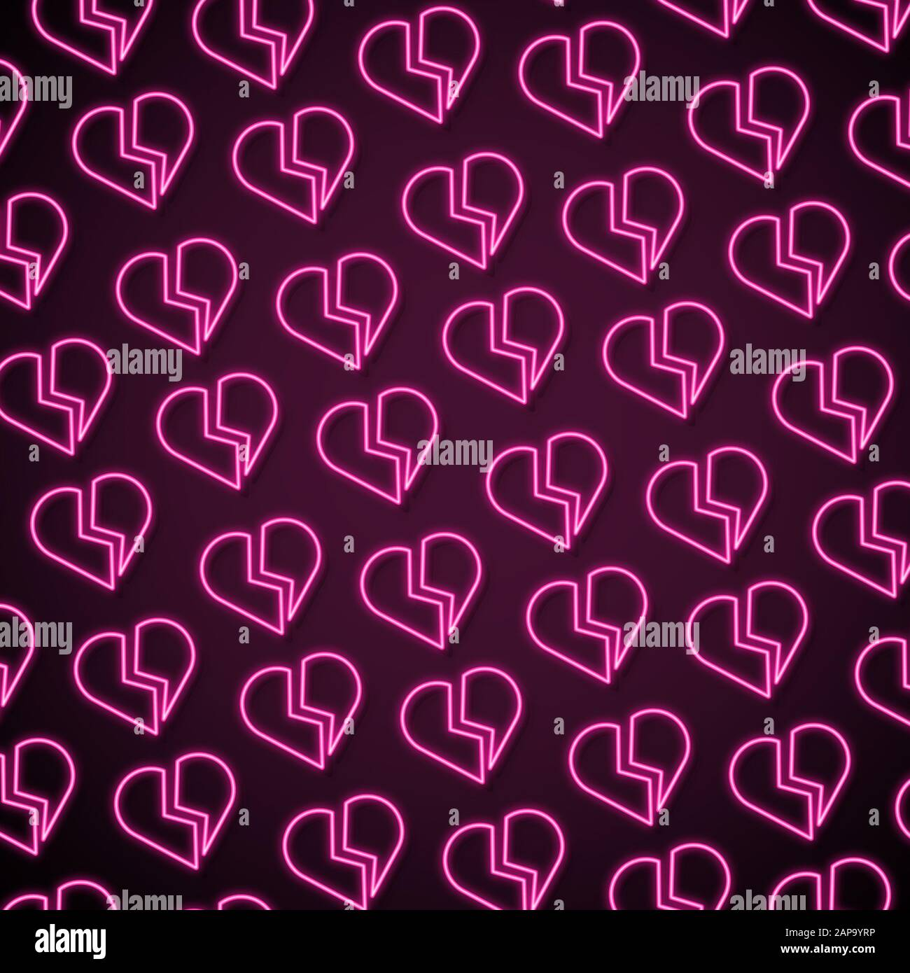 card for saint valentines day neon colored pink broken hearts on dark modern artwork bright wallpaper background pattern for your device design or advertisement romantic love concept 2AP9YRP