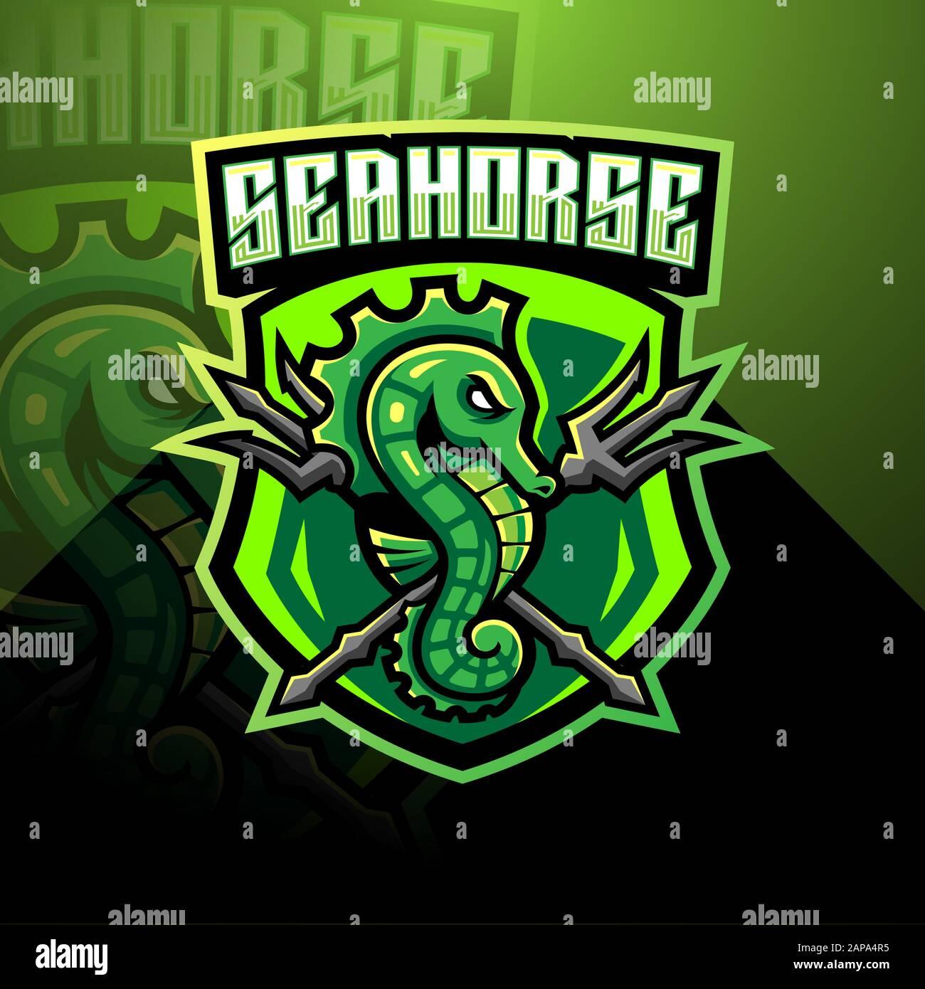 Seahorse Esport Mascot Logo Design Stock Vector Image Art Alamy