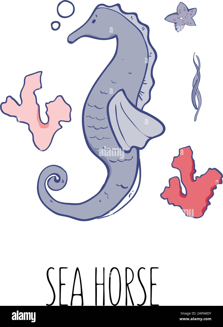 Vector Illustration Of The Sea Horse Beautiful Sea Colors Palette For T Shirts Textile Postcard Stock Vector Image Art Alamy