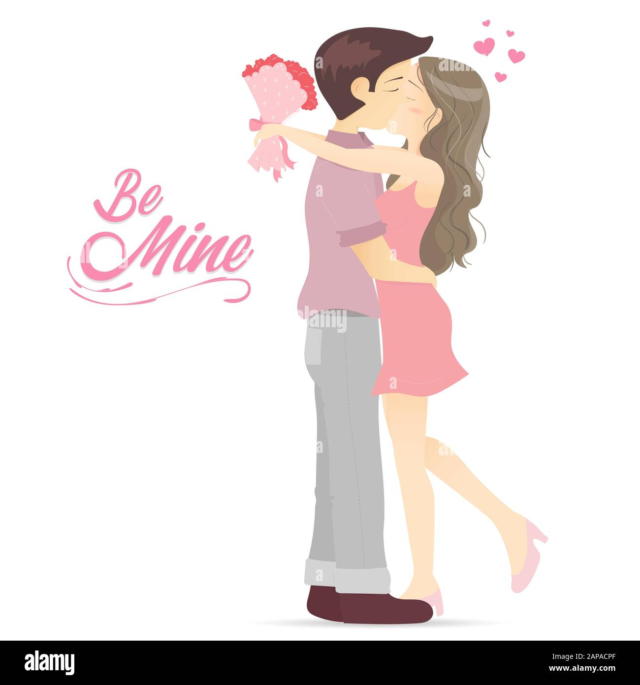 Handsome Boy And His Girlfriend Hug And Kiss Together Cartoon Lovely Couple Kissing Romantic Kiss Stock Vector Image Art Alamy