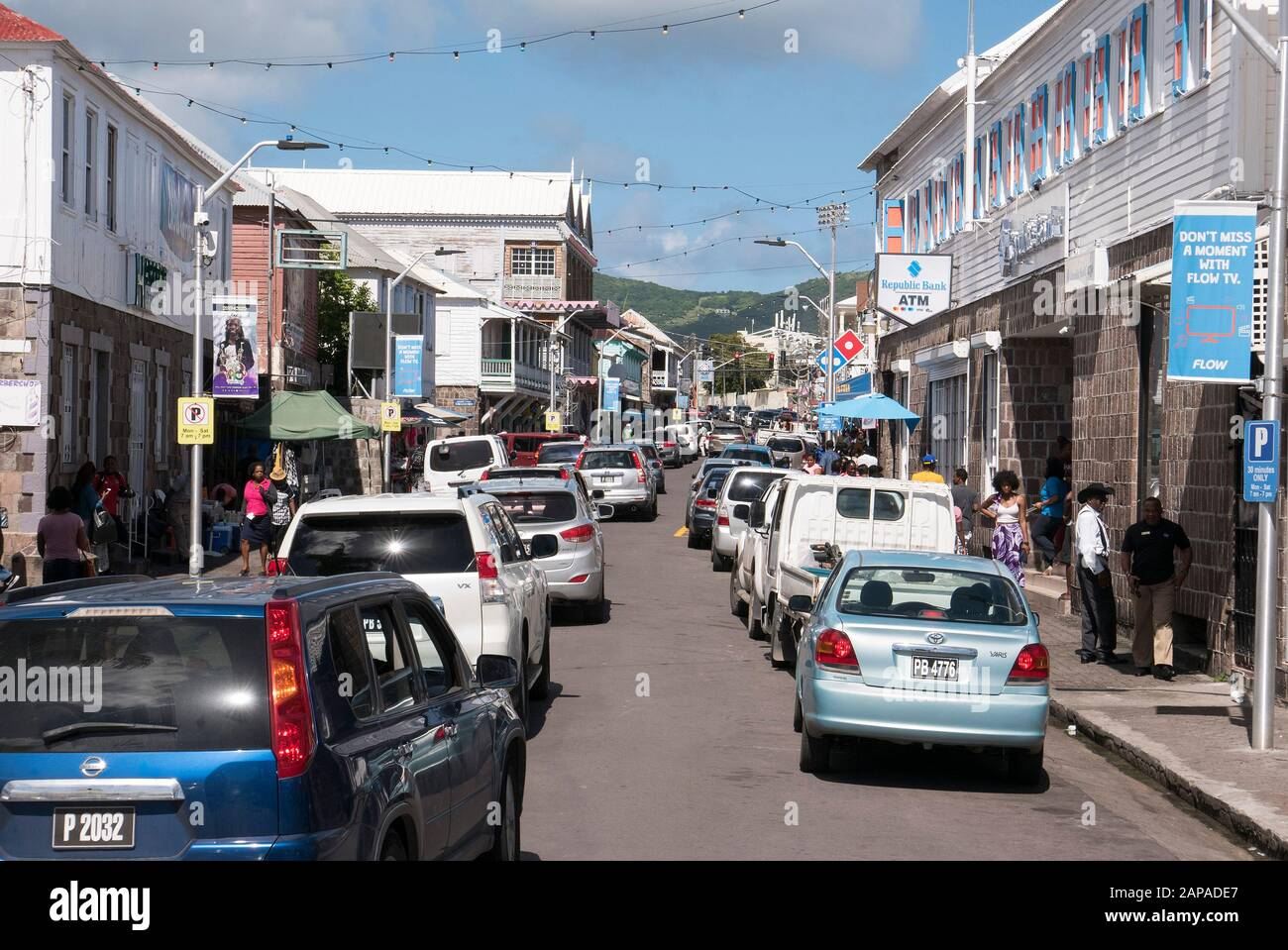 Main street shopping area in St.Kitts in the Caribbean Stock Photo
