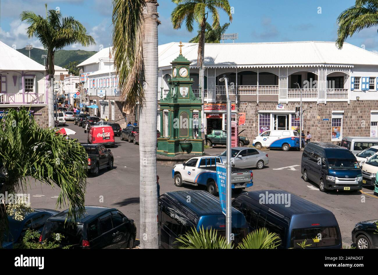 Town Centre Basseterre in St.Kitts in the Caribbean Stock Photo