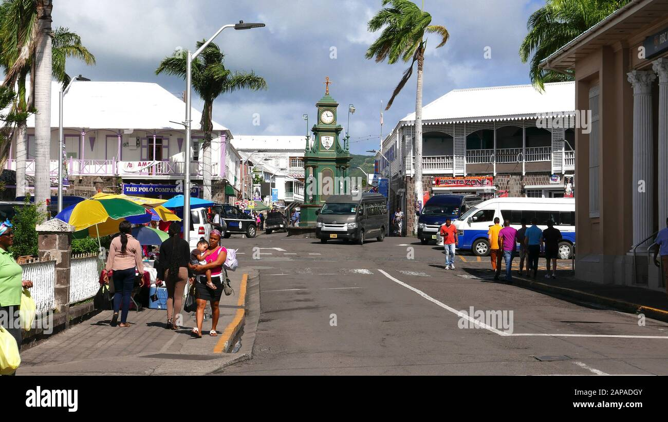 Town Centre in St.Kitts in the Caribbean Stock Photo