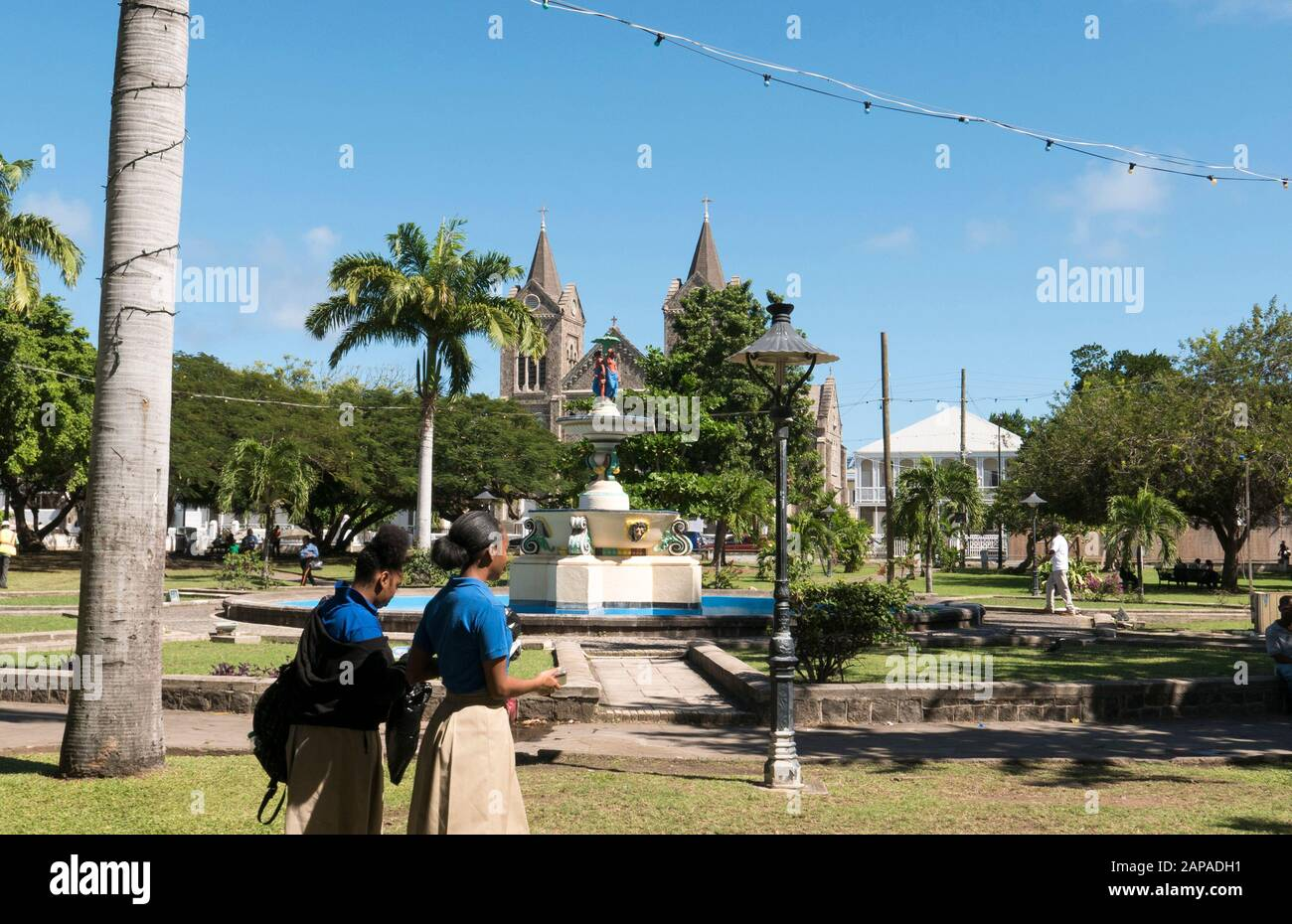 Independence Square Gardens and Fountains in St.Kitts in the Caribbean Stock Photo
