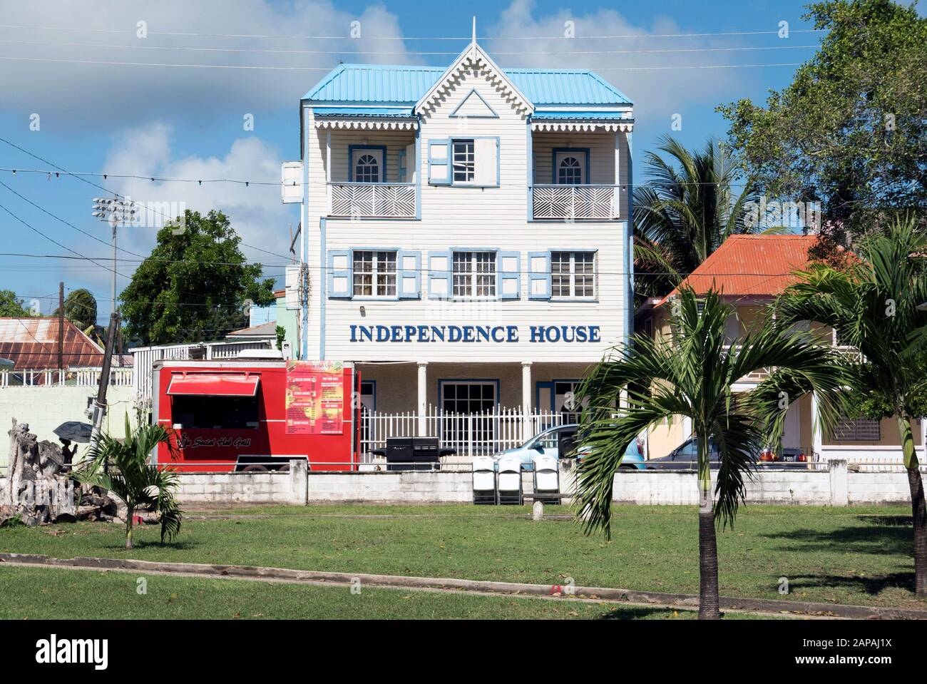 Typical building in Saint Kitts Caribbean situated in Independence Square Basseterre Stock Photo