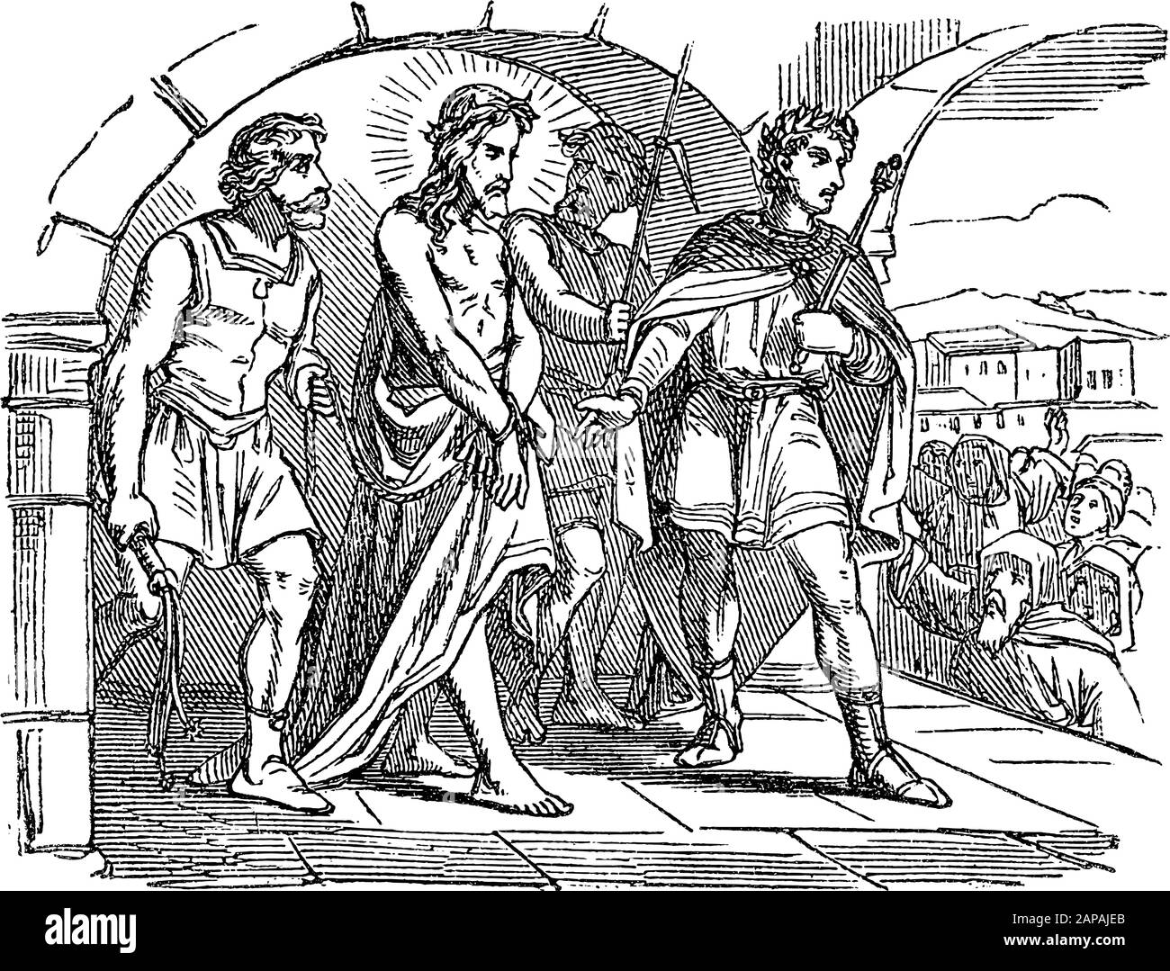 Antique vintage biblical religious engraving or drawing of crowds asking for crucifixion and Pilate sentence Jesus to death. Bible, New Testament,Luke 23. Biblische Geschichte , Germany 1859. Stock Vector