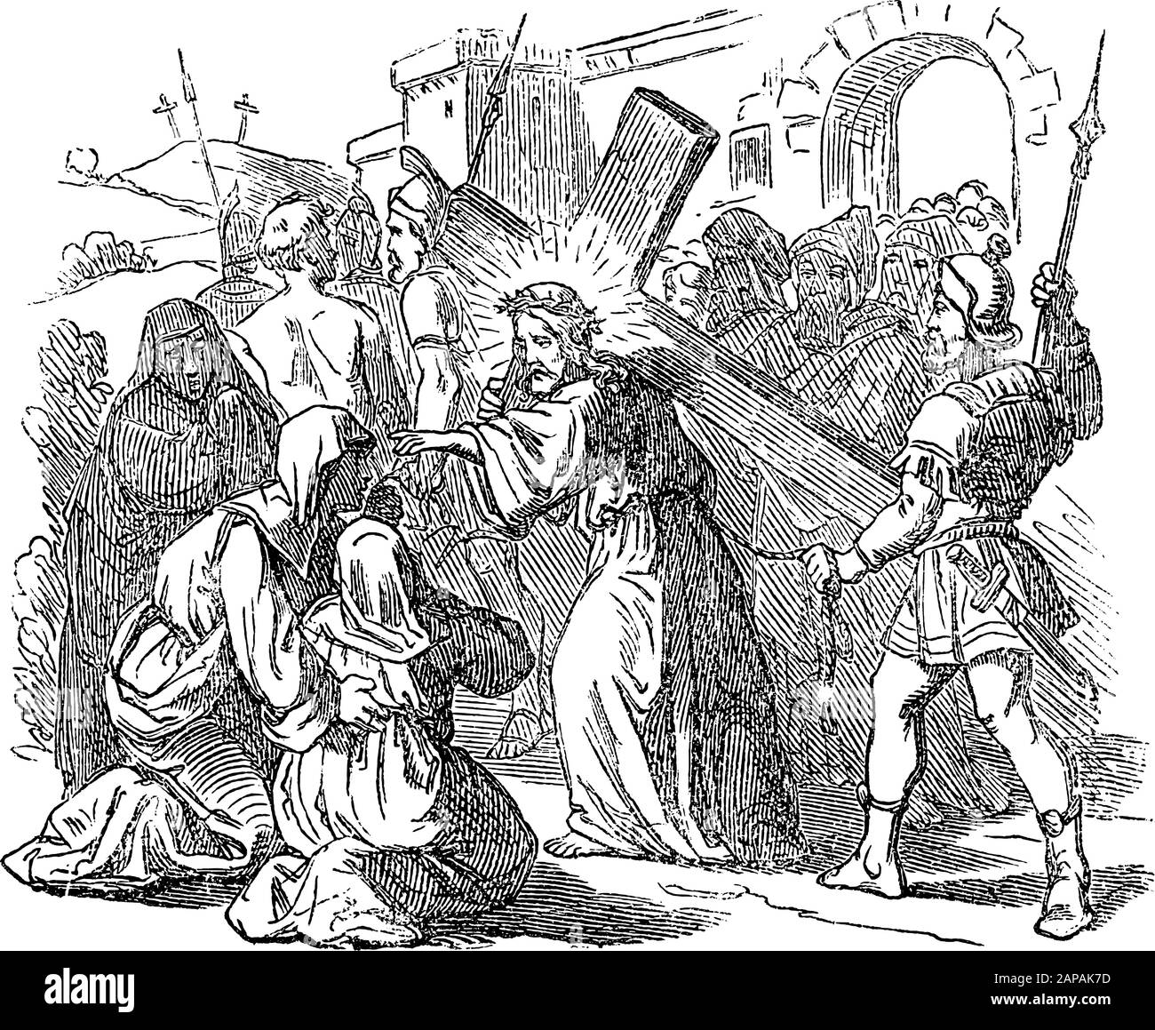 Antique vintage biblical religious engraving or drawing of Jesus carrying cross for crucifixion and talking to women of Jerusalem . Bible, New Testament,Luke 23. Biblische Geschichte , Germany 1859. Stock Vector