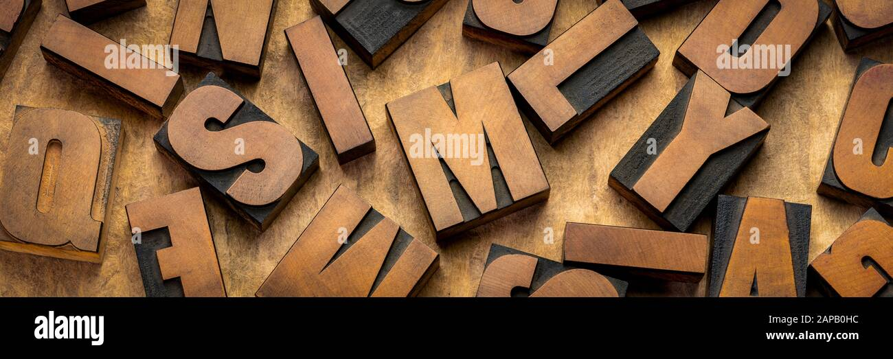Vintage Letterpress Wood Type Printing Blocks Letters On Handmade Bark Paper Panoramic Banner Craftsmanship Concept Stock Photo Alamy