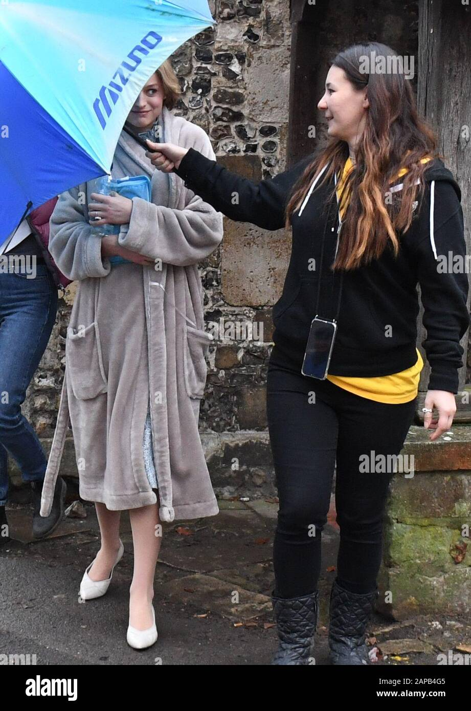 Emma Corrin Who Plays Lady Diana Spencer At Winchester Cathedral As Filming For The Netflix Series The Crown Takes Place Stock Photo Alamy