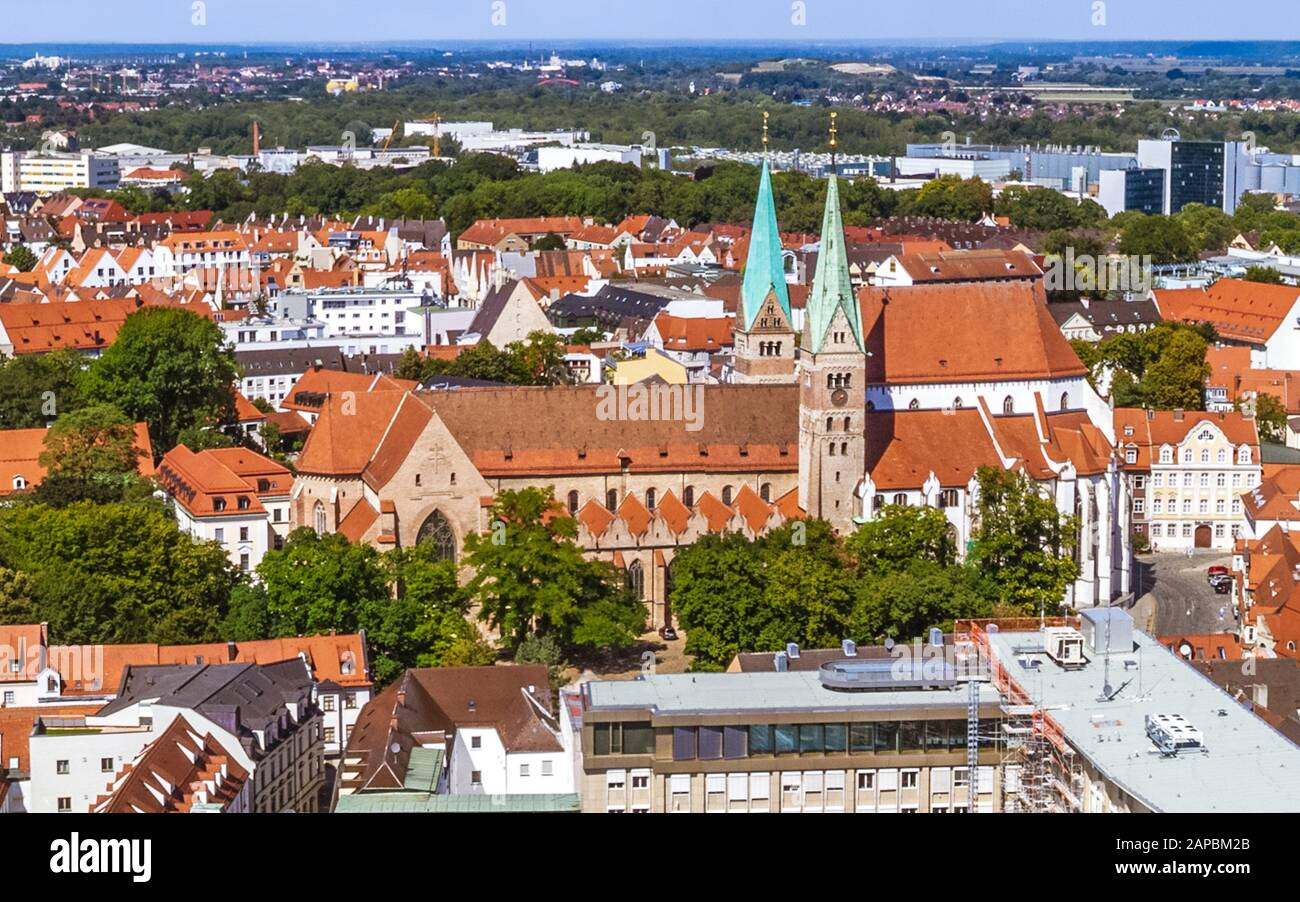 The bavarian city of Augsburg from above - impressions around the central place, the Rathausplatz Stock Photo