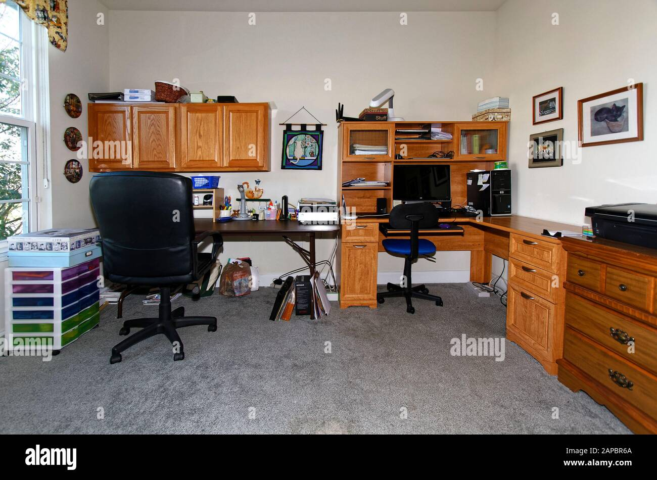 Home Office L Shape Desk Work Table Wall Cabinets Computer Chairs Lamps Craft Equipment Window Horizontal Pr Stock Photo Alamy