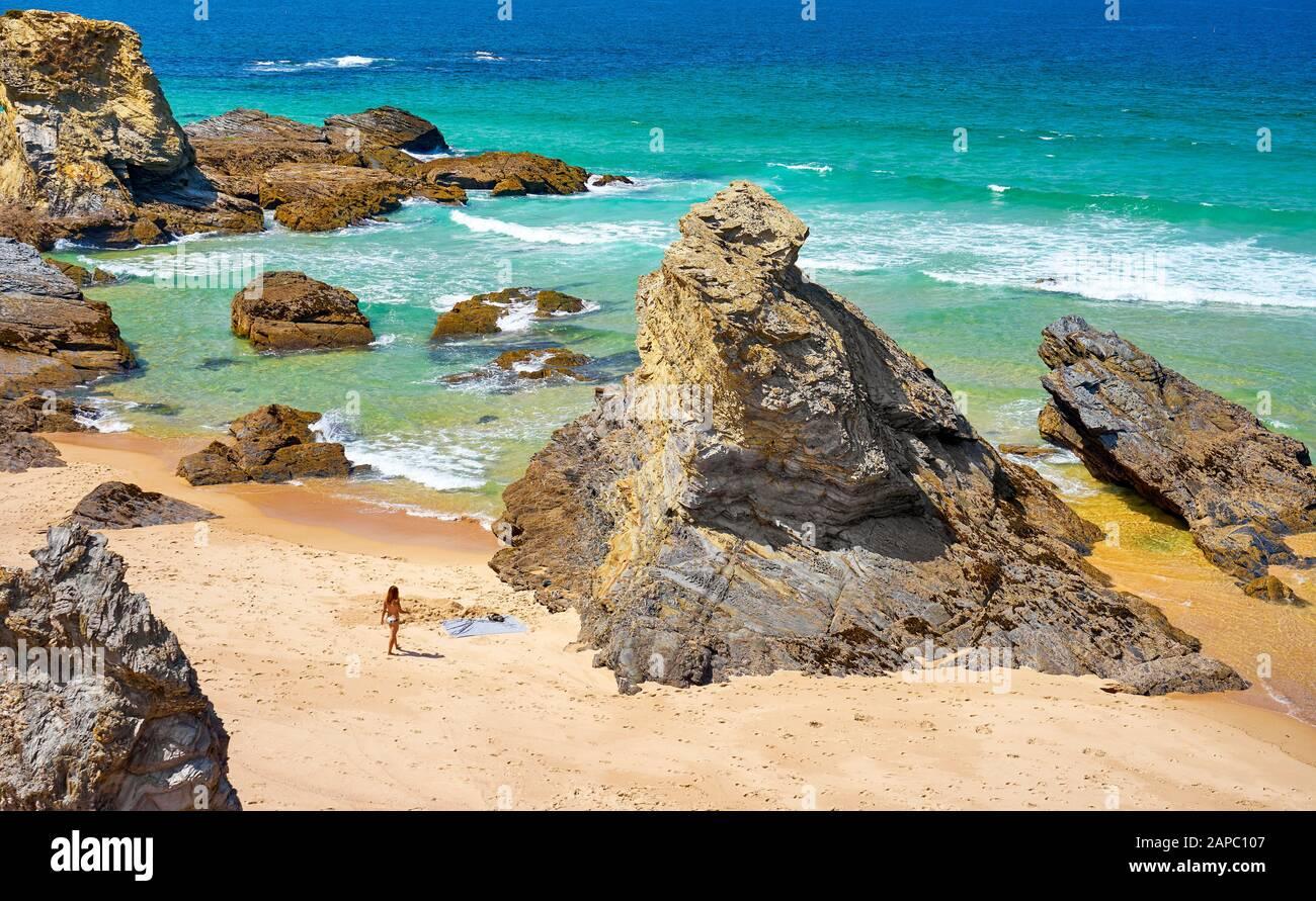 Bath Beach near Porto Covo, Vicentine Coast Natural Park, Portugal Stock Photo