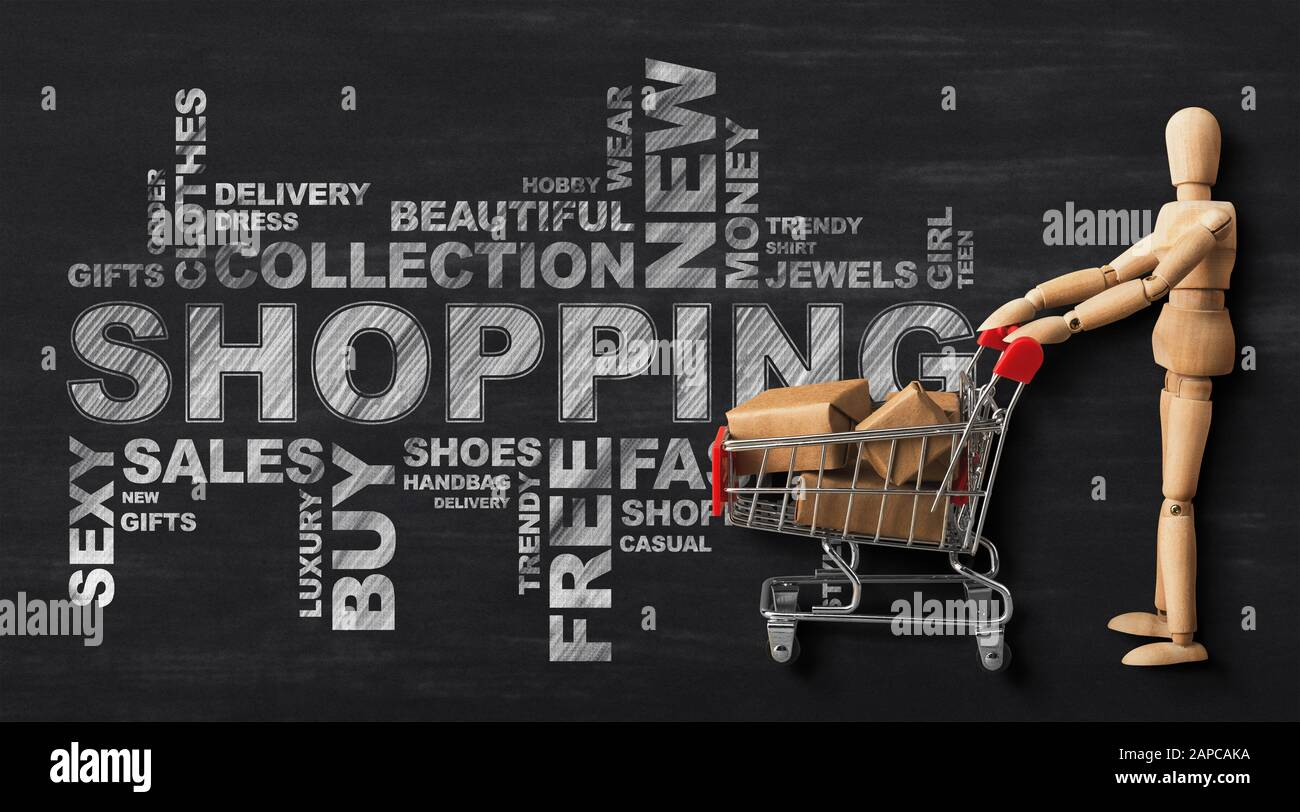 Wordcloud With Wooden Man And Shopping Cart Over Black Background Stock Photo