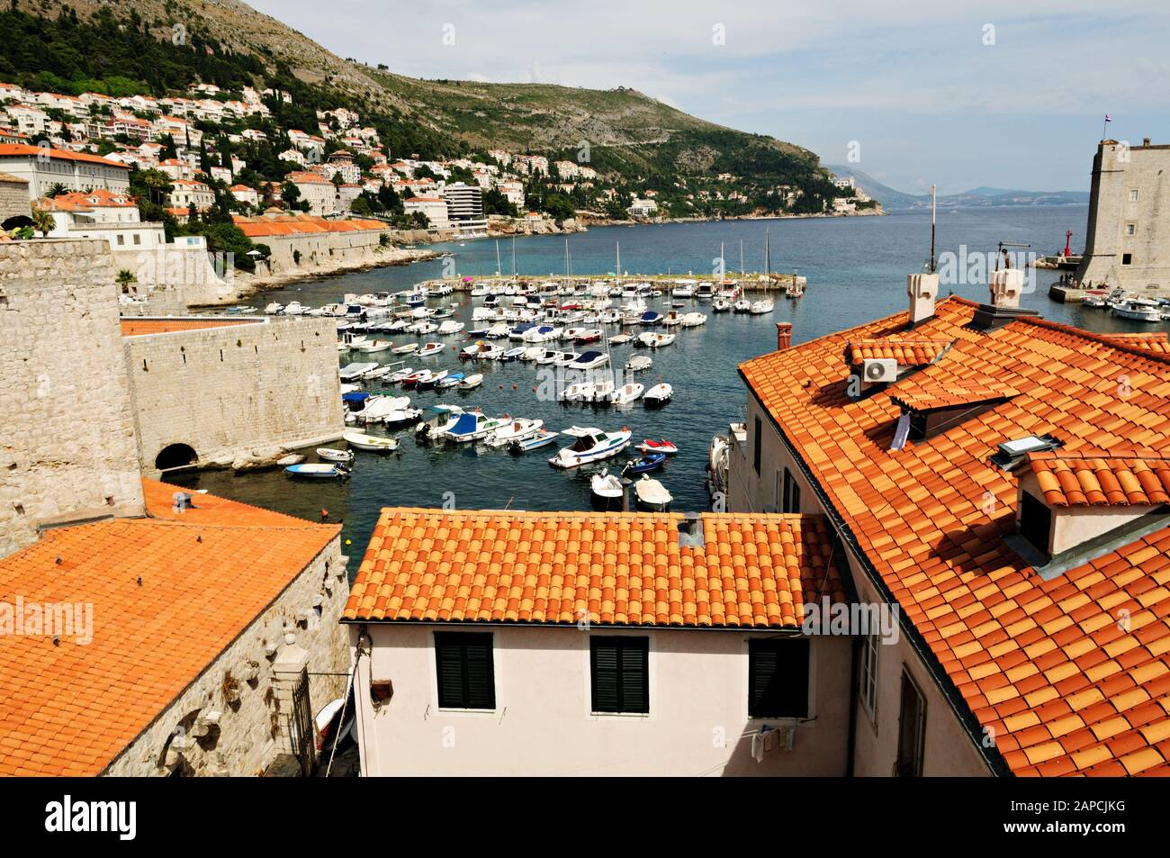 Old port of Dubrovnik from the ramparts, Croatia Stock Photo