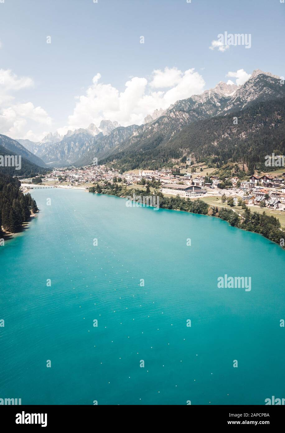Horizontal panorama of lago di santa caterina (Auronzosee) in Auronzo di Cadore Provinz Stock Photo