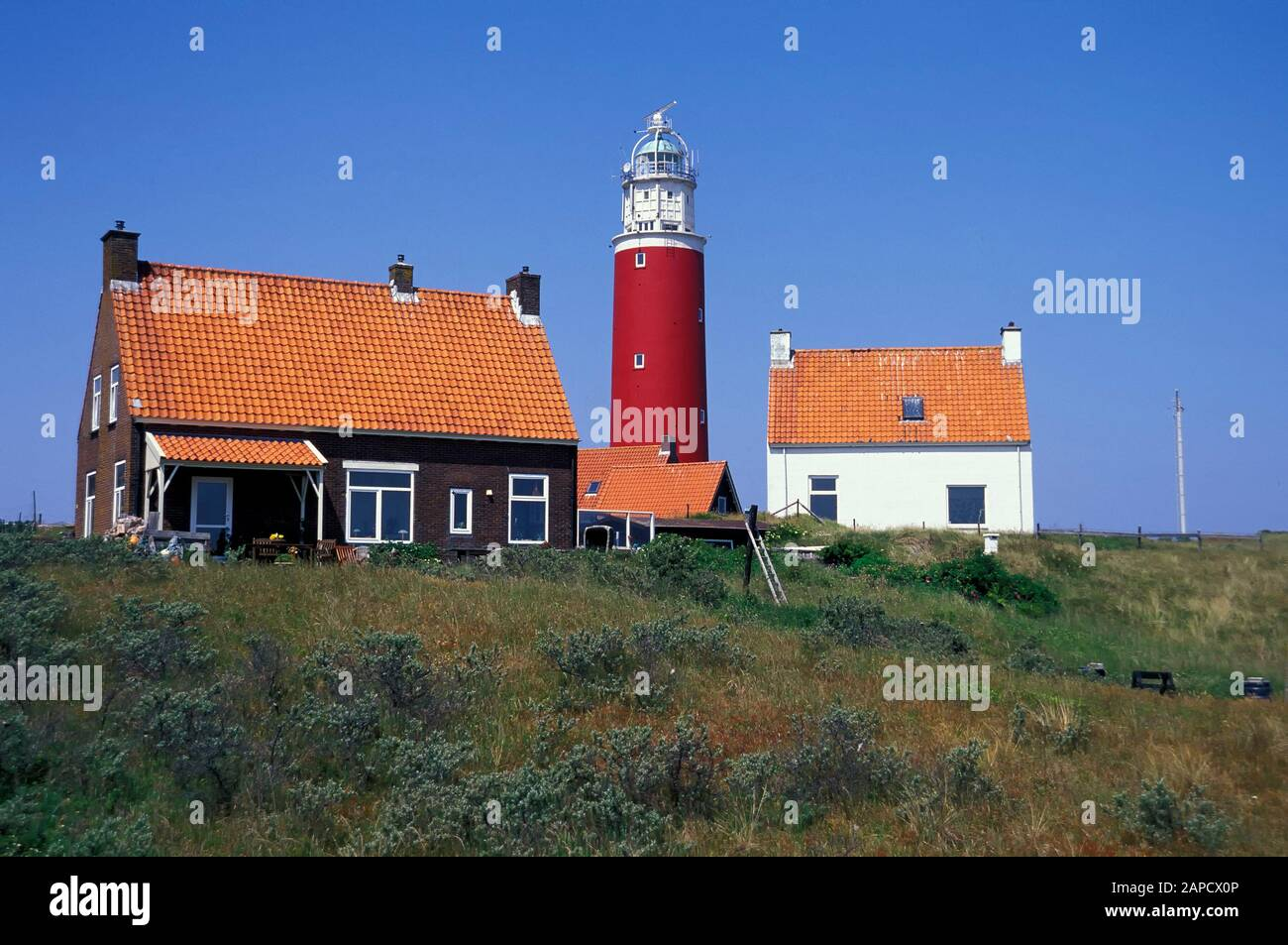 Lighthouse in the north of Texel Island, North Sea, Netherlands, Europe Stock Photo