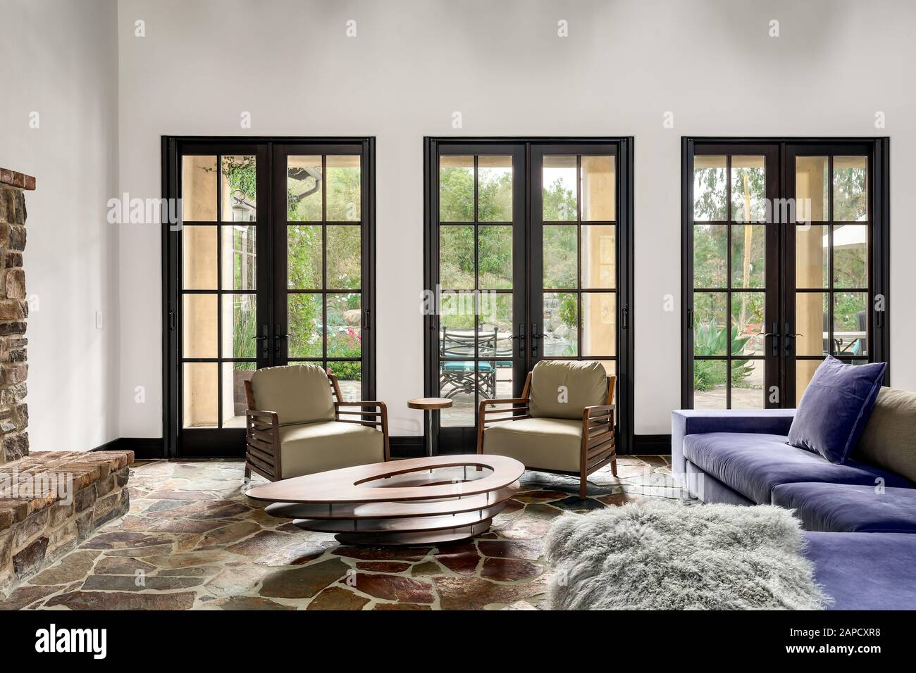 One Point Perspective Of Living Room Furnishings With View Outisde Stock Photo Alamy