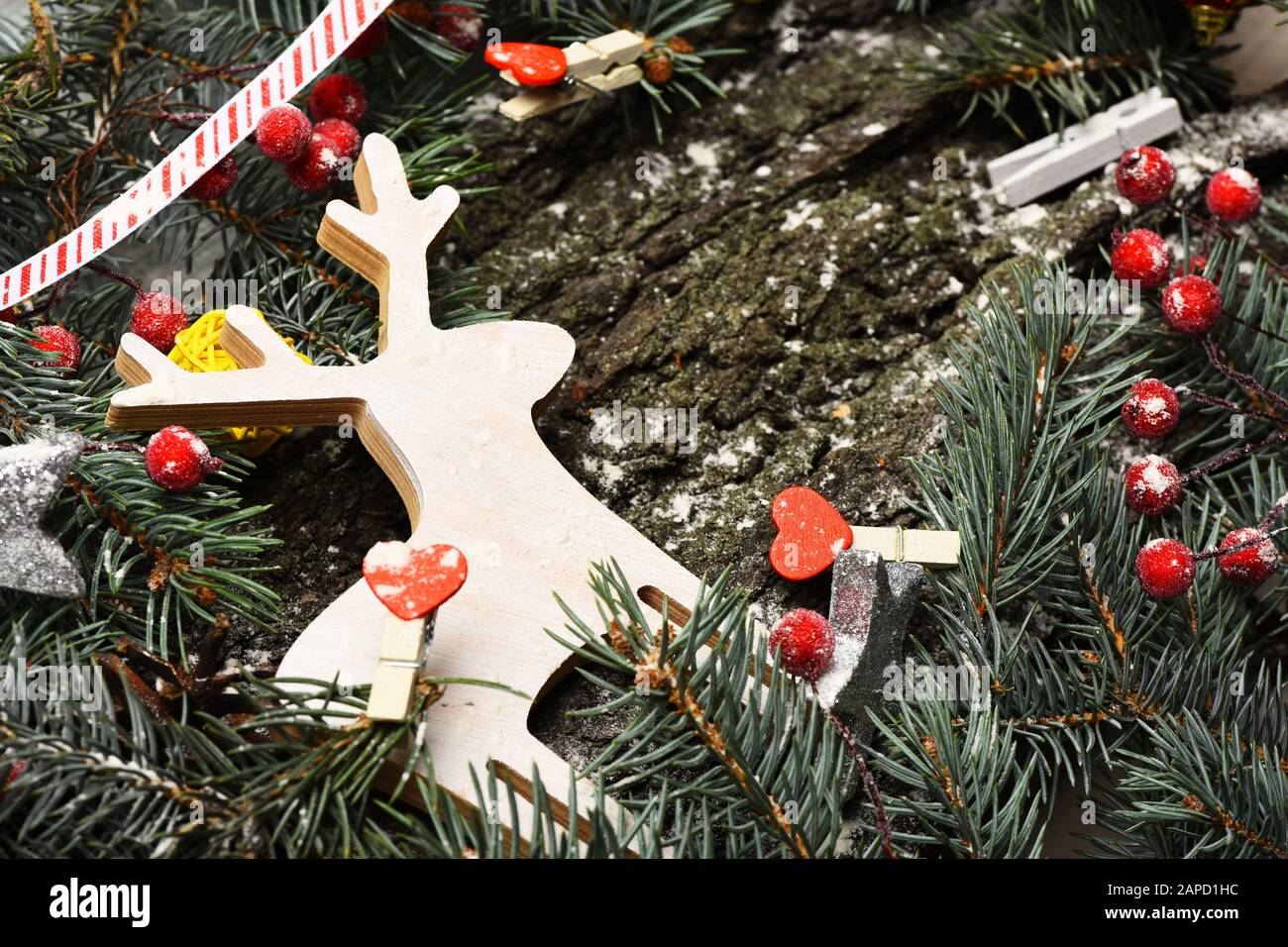 Composition Of Christmas Tree Decor Christmas Decorations On Rough Wooden Texture Background Deer In White Color