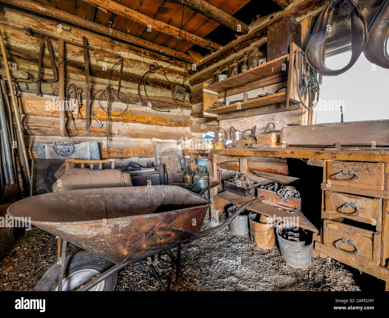 Inside the work shop, formerly the local schoolhouse, Swett Ranch National Historic Site, Flaming Gorge National Recreation Area near Dutch John, Utah Stock Photo