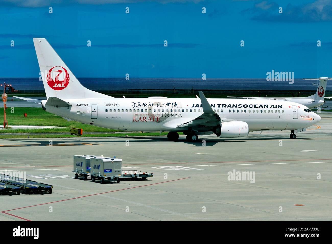 Japan Transocean Air, JTA, Boeing, B-737/800, JA03RK, Karate Livery, Taxi to TO, Naha Airport, Naha, Okinawa, Ryukyu Islands, Japan Stock Photo