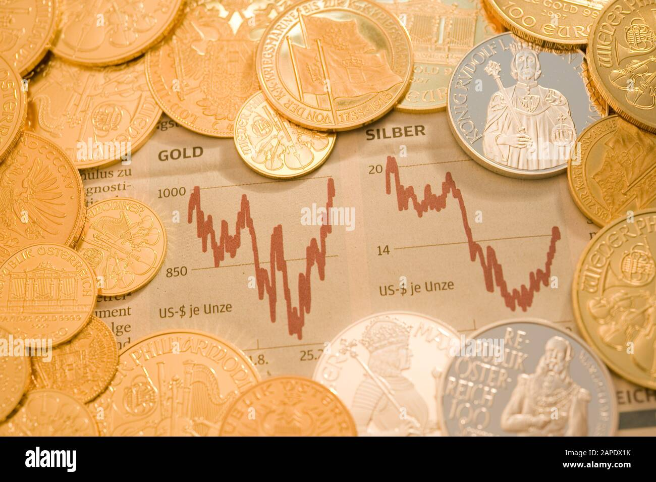 Gold- und Silbercharts - Gold and Silver Charts Stock Photo