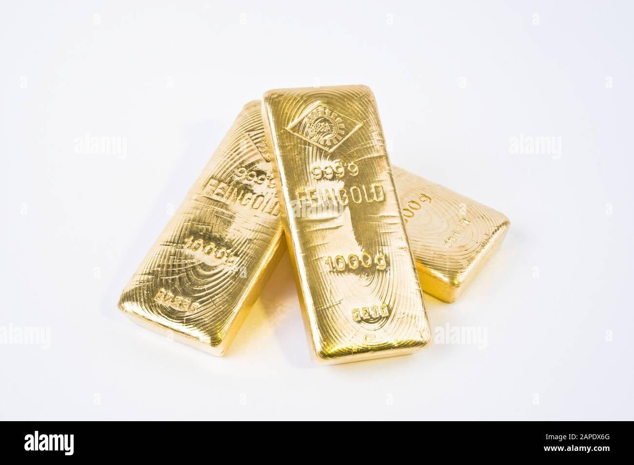 Drei Ögussa-Goldbarren - Three Gold Bars Stock Photo