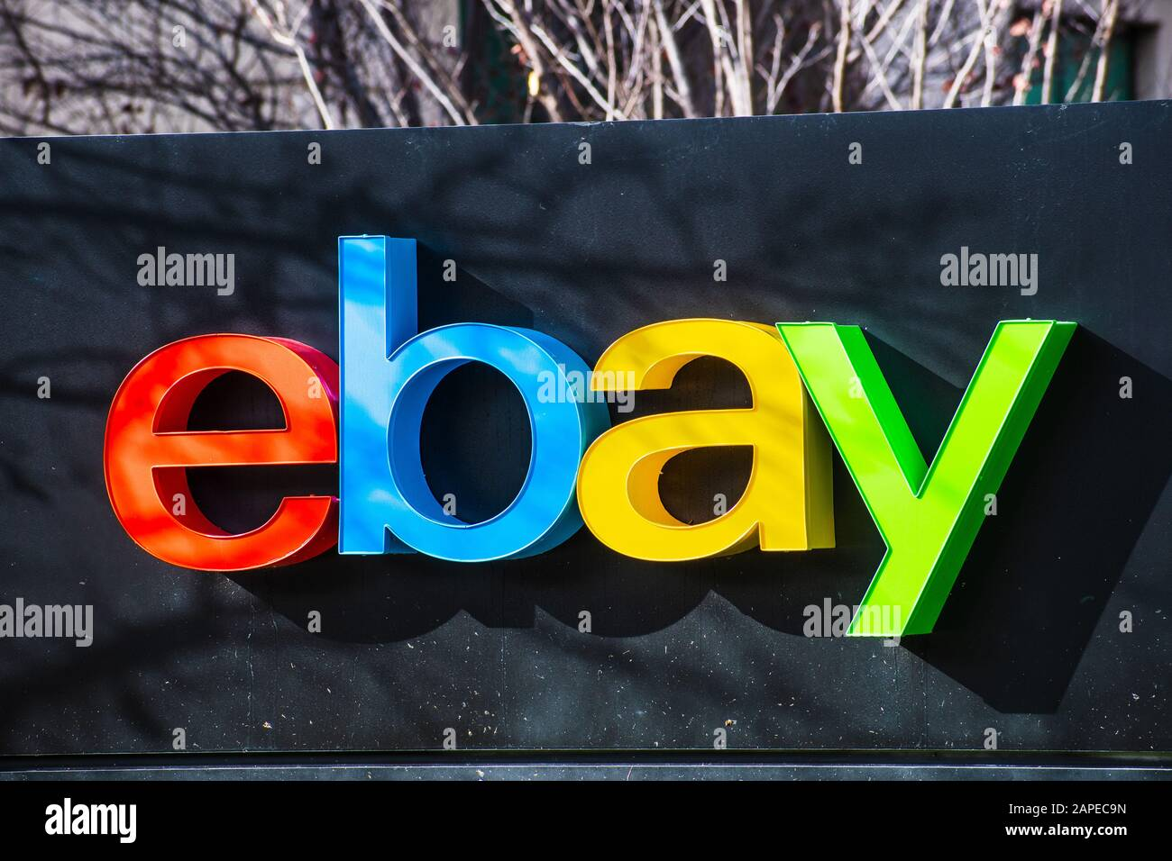 Jan 12 2020 San Jose Ca Usa Ebay Logo At Their Corporate Headquarters In Silicon Valley Ebay Inc Is An American Multinational E Commerce Corp Stock Photo Alamy