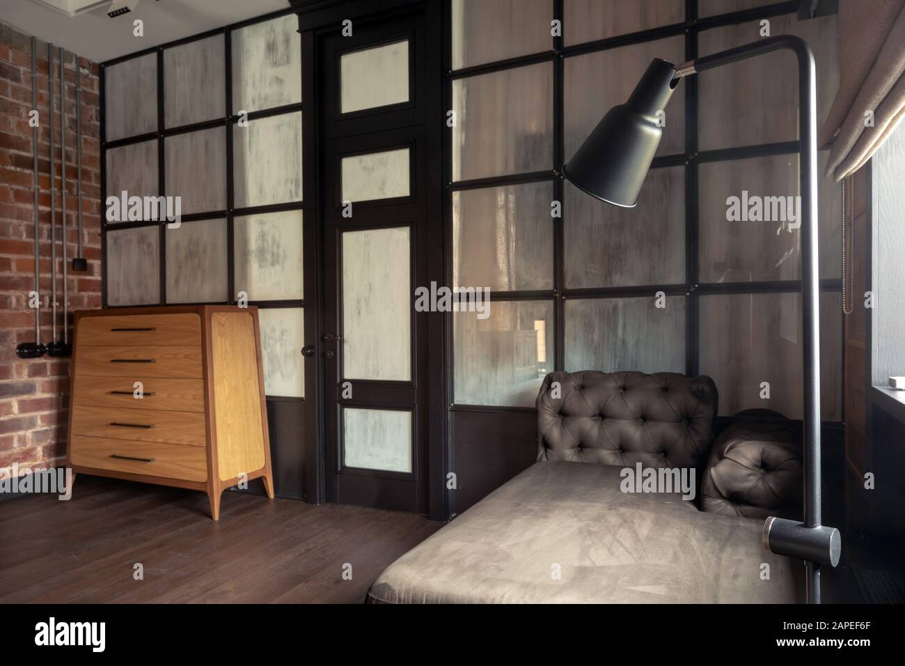 Trendy Modern Interior Design Of Living Room With Glass Partition In Flat Stock Photo Alamy