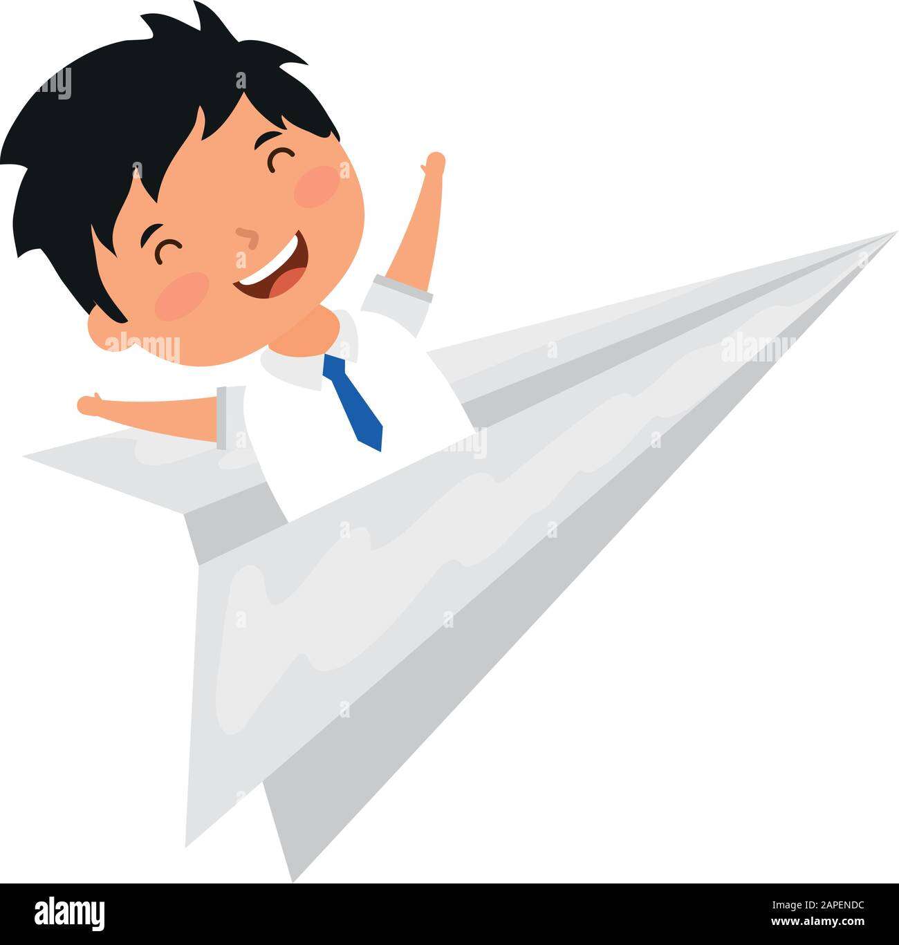 Cute Little Student Boy In Paper Airplane Stock Vector Image Art Alamy