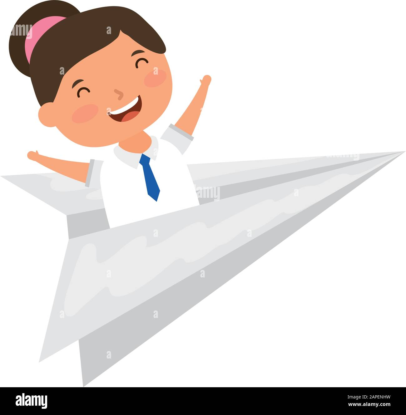Cute Little Student Girl With Paper Airplane Stock Vector Image Art Alamy