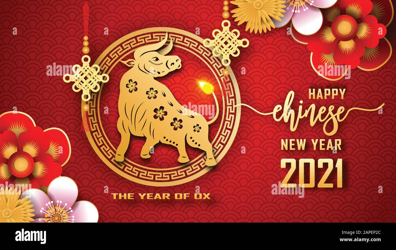 Happy Chinese new year 2021. The year of the Ox. Chinese new year fortune  greeting card graphic design background and wallpaper. Red and gold paper  cu Stock Vector Image & Art - Alamy