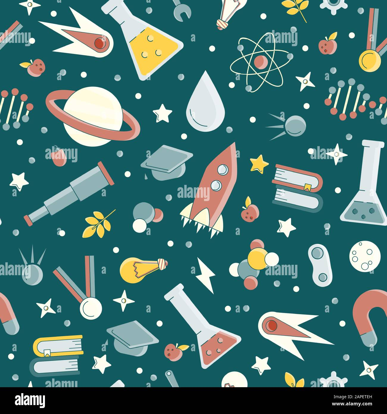 Back to school pattern. Science flat seamless pattern with scientific elements - molecule, atom structure, rocket, books, water and other on one Stock Vector