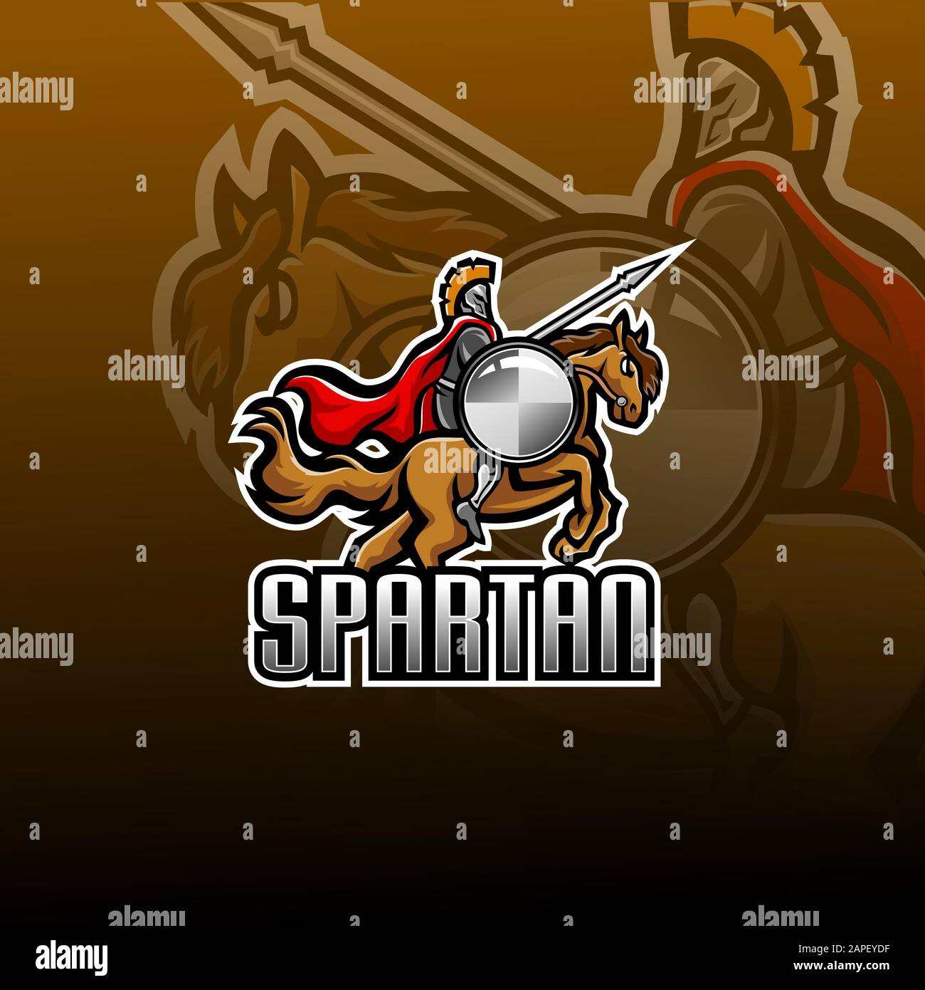 Spartan With Horse Jump Esport Mascot Logo Stock Vector Image Art Alamy