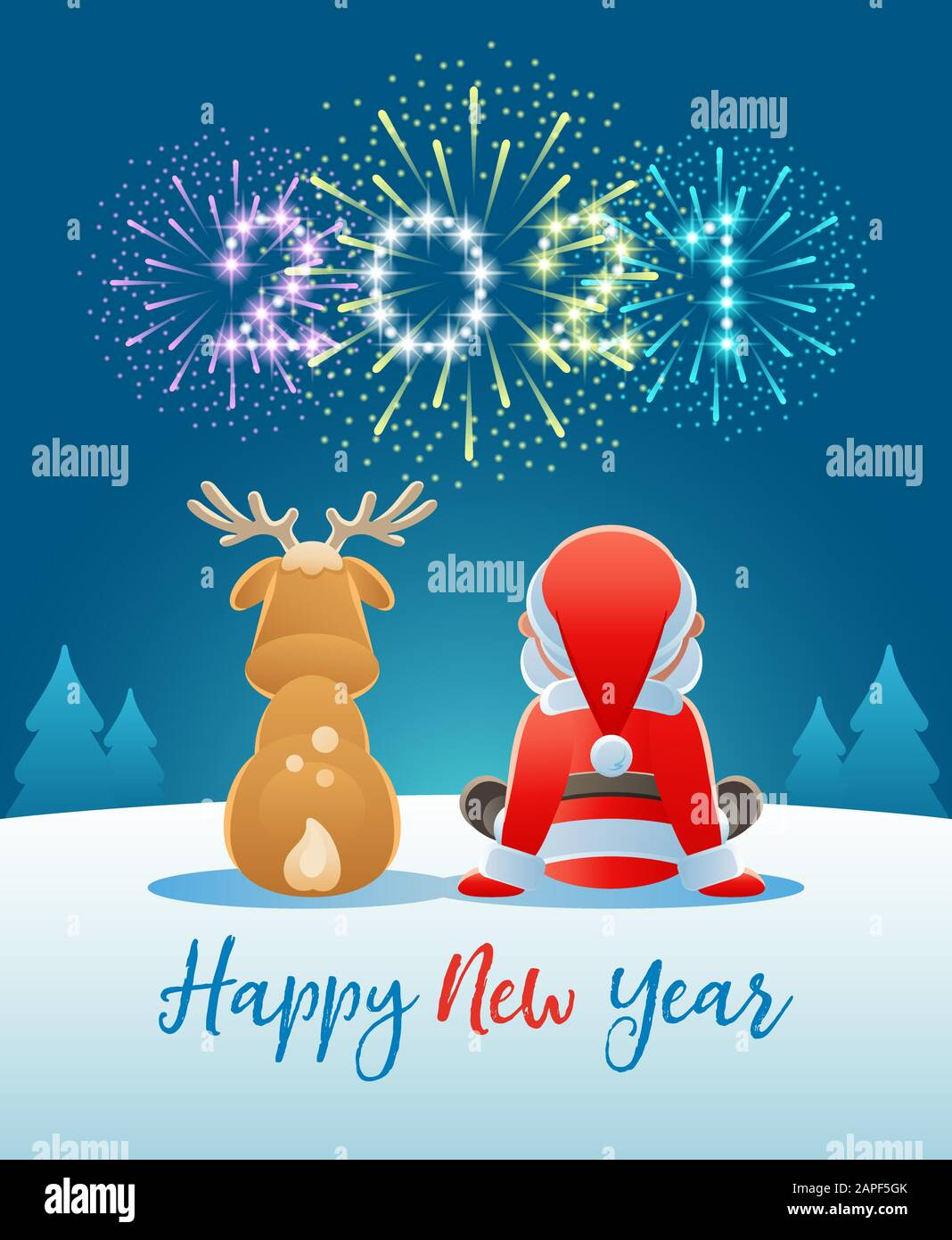 2021 Happy New Year. Cute Santa Claus and Reindeer watching the Fireworks.  Vector illustration Stock Vector Image & Art - Alamy