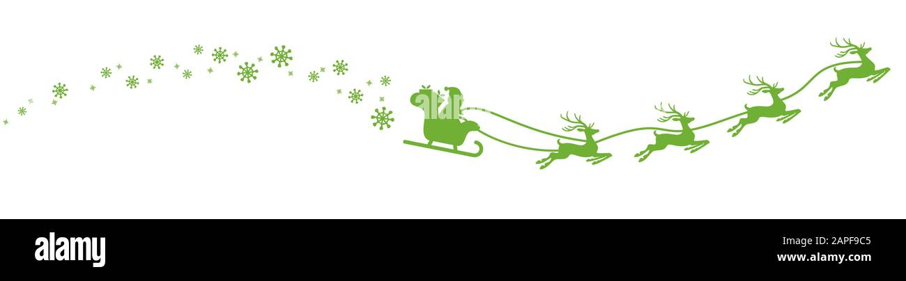 Santa Claus with sled, reindeers and some snow flakes isolated on white background Stock Vector
